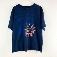 New York Rangers Starter 90s USA Vintage Navy Hockey Graphic T Shirt Large