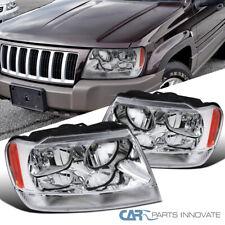 For 99-04 Jeep Grand Cherokee Clear Headlights Headlamps+Signal Corner Lamp Pair