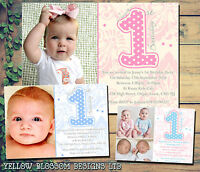 10 Personalised Birthday Party Invitations Thank You Cards ONE First 1st Joint