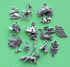 Woodland Charm Collection 12 Tibetan Silver Tone Charms FREE Shipping E109