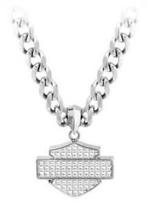 Harley-Davidson Men's Stainless Steel Bar & Shield Chain Necklace, HSN0049-22