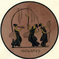 1930s French Pochoir Greek MENADES Maenads Dionysus Followers Women Dancing (S)