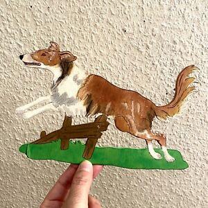 Laubsägearbeit ALT 1970er 13x21cm Fernseh Hund Lassie Wand-Figur Deko Vintage