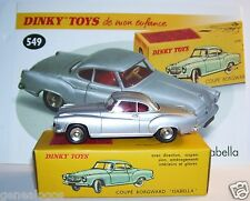 DINKY TOYS ATLAS COUPE BORGWARD ISABELLA GRIS CLAIR METAL 1/43 REF 549 in BOX b