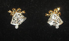 Bell Earrings Christmas Wedding Silver Tone Gold Pierced Crystal Accents New