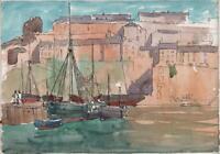 GEORGE GRAINGER SMITH Watercolour Painting BRIXHAM HARBOUR DEVON c1930