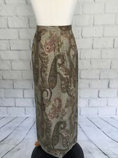 Talbots Women's Long Wrap Maxi Skirt Sz. 6 Muted Pink Green Brown Silk Paisley