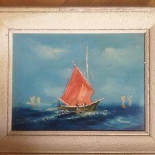 magnifique huile sur toile encadrée bateaux