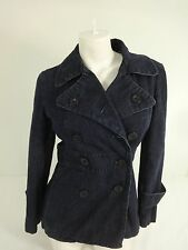 MOSSIMO WOMENS DARK WASH DENIM DOUBLE BREASTED PEACOAT JEAN JACKET SIZE S
