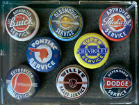 Automobile Vintage Service Signs Iconic Images 8 Round 1.0 inch 3M Magnets Set A
