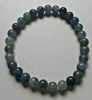 BRACELET PIERRES POLIES AVENTURINE BLEUE - lithothérapie perles boules AA 6mm