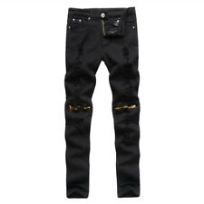 Fashion Holes Solid Jeans For Men - Black