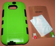 Trident Aegis Hybrid Case HTC One M8, Green & Black with screen protector, NEW