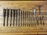 ANTIQUE Tools Brace Bit Hand Drill Auger Drill Bits Lot Vintage Woodworking ☆USA