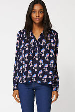 Waist Length Casual Tie Neck Floral Tops & Shirts for Women