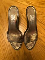 Salvatore Ferragamo Sandal Wedges Italy Copper Leather Brown Wood Size 8B