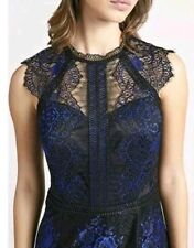 BNWT LIPSY VIP Size 6 BLUE BLACK 2TONE ESCALLOP LACE FITTED DRESS, NEW, £125