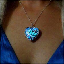 Hot Glowing Blue Silver Heart Glow In The Dark Pendant Necklace Women Jewelry