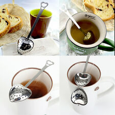 Hot  Stainless Steel Heart Shaped Tea Leaf Spoon Strainer Filter Creative Gift