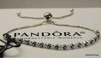 AUTHENTIC PANDORA BRACELET BLUE AND CLEAR SPARKLE SLIDER  #598517C01-2 HINGE BOX
