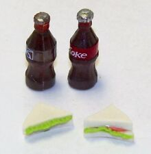 Dollhouse Miniatures One Coca Cola & one Pepsi Cola and two Sandwiches