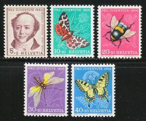 Switzerland 1954 MNH Mi 602-606 Sc B237-B241 Juventute.Butterflies.Insects **