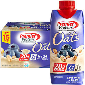Premier Protein 20g Protein with Oats Shake, Blueberries and Cream  (11oz,15pk)