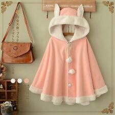1PC Women's Winter Sweet Rabbit Pink Coat Students Cute Hooded Coat Fashion