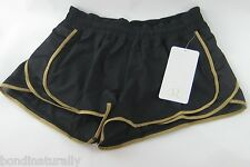 NEW LULULEMON SUPER SQUAD RUNNING GYM RUN SHORTS BLACK SIZE 10 (AUS 14)