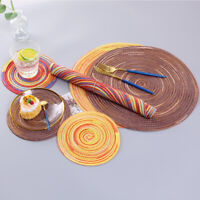 Set of4/6 Braided Remie Round Oval Heat Insulation Non-Slip Table mats Placemats
