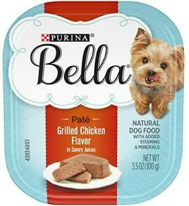 Purina Bella(12 Pack)  Grilled Chicken Flavor Natural Pat`e Wet Dog Food.