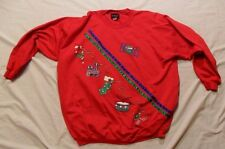 WOMEN'S 2 XL ANDOVER NOEL UGLY CHRISTMAS XMAS SWEATER TRAIN STOCKING DRUM PARTY