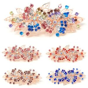 New Sparkly Rhinestones Crystal Metal Rose flower hair claw clip Barrette clamp