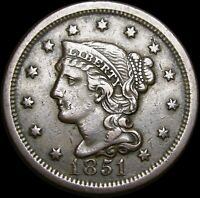 1851 Braided Hair Large Cent Type Penny -- NICE L@@K -- #V503
