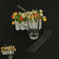Reusable 4pcs Clear Glass Straws and Water Supplies TO 1 Party Drinking Brush