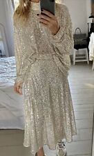 H&M SOLD OUT Calf Length Sequin SKIRT Silver/Beige Size UK 8 BNWT•last one•