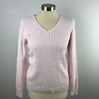 Karen Scott Womens Light Pink Small Cable Knit V Neck Sweater