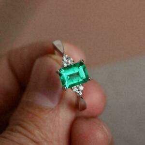 2Ct Emerald Cut Green Emerald & Diamond Engagement Ring In14K White Gold Finish