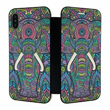 iPhone X XS Full Flip Wallet Case Cover Elephant Animal Pattern - S5248