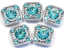 5 - 2 HOLE SLIDER BEADS 7mm & 2mm TURQUOISE RHINESTONES DOTTED SILVER TONE FRAME