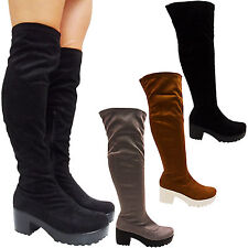 NEW LADIES THIGH LOW HEEL CHUNKY BLOCK CLEATED PLATFORM OVER KNEE BOOTS SIZE