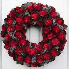 Türkranz XXL Wandkranz Kranz Kunstblumen mit roten Seidenblumen Rosen 60 cm