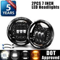 "2PCS DOT 7"" Round LED Headlights Halo Black For Porsche 911 912 914 924 928 944"