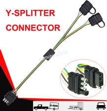 4Way Flat Y-Splitter Dual Plug Adapter For LED Tailgate Light Bar/ Trailer 4 Pin