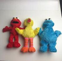 Sesame Street Plush 2013 Hasbro Cookie Monster Elmo Grover Muppets Toy Lot Set