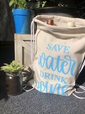 Save Water Drink Wine Canvas Tote