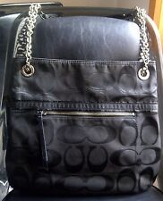 Coach Poppy Metallic Outline Signature Large Slim Tote Purse 21161 Black - RARE