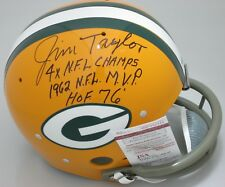 Packers Hall of Famer JIM TAYLOR Signed TK Suspension Helmet AUTO  w/ 3 Scripts!