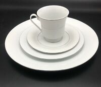 Fine China White Lace 4 Piece Place Setting, Floral Lace Pattern W/ Silver Trim