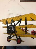 Vintage 1975 Homco cast Metal Bi Plane Airplane wall art USA